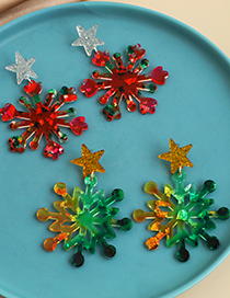 Fashion Blue Resin Five-pointed Star Snowflake Earrings  Resin
