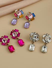 Fashion Rose Red Alloy Diamond Earrings