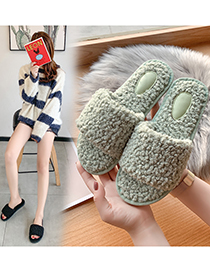 Fashion Black Lamb Wool One-word Indoor Slippers