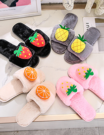 Fashion Black + Big Red Strawberry Plush Fruit Non-slip Flat Slippers