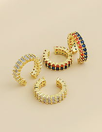 Fashion Color Copper Inlaid Zircon Round Ear Bone Clip