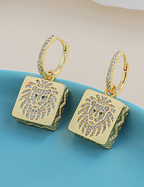 Fashion Golden Copper Inlaid Zircon Lion Earrings