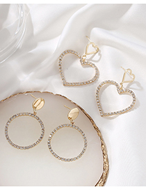 Fashion Round Diamond Heart Round Alloy Hollow Earrings