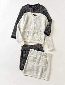 Fashion White Silver Silk Pocket Stitching Knitted Top And Skirt Two-piece Suit
