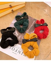 Fashion Vintage Green Bow-knot Flash Diamond Rabbit Knitted Wool Hair Rope
