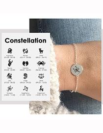 Fashion Gold Color Aries Titanium Steel Twelve Constellation Pendant Bracelet