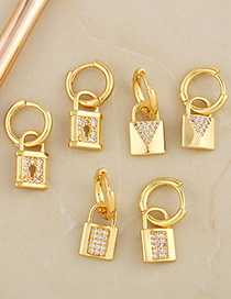Fashion A Gold Color Lock-shaped Micro-inlaid Zircon Hollow Earrings