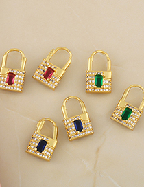 Fashion Green Lock-shaped Micro-inlaid Zircon Gold-plated Copper Earrings