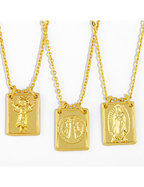 Fashion Angel Virgin Mary Square Copper Gilded Necklace
