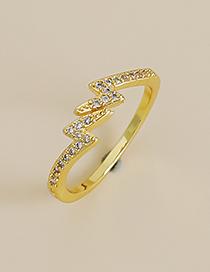 Fashion Gold Color Copper Inlaid Zircon Irregular Ring