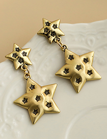 Fashion Gold Color Alloy Diamond Five-pointed Star Earrings