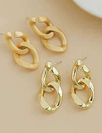 Fashion Gold Color Alloy Matte Round Earrings