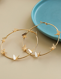 Fashion Gold Color Alloy Butterfly Round Earrings