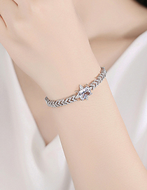 Fashion Platinum Copper Inlaid Zircon And Real Gold Electroplated Geometric Bracelet