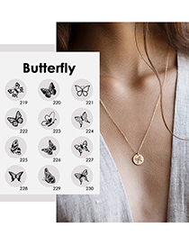 Fashion Steel Color -219 Butterfly Hollow Stainless Steel Necklace (13mm)