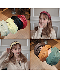 Fashion Light Yellow Pu Leather Cross Solid Color Curling Headband