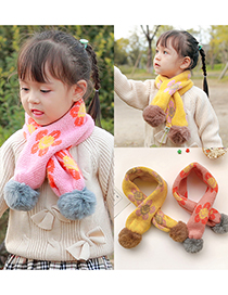 Fashion [red] 6 Months-10 Years Old Childrens Scarf With Flower Print Hair Ball Thickening