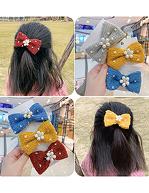 Fashion Gray Bow-hairpin Knitted Yarn Bow And Pearl Flower Hairpin