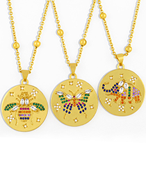Fashion Bee Round Medal Gold Coin Butterfly Elephant Pendant Necklace