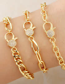 Fashion Type A Copper Gold-plated Inlaid Zircon Thick Chain Bracelet