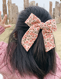 Fashion Ribbon Bow [pink] Childrens Hairpin With Fabric Floral Bow
