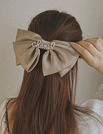 Fashion Pink Big Bow Letter Diamond Alloy Hairpin