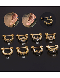 Fashion 1#silver Color Stainless Steel Inlaid Zircon U-shaped Geometric Ear Clips