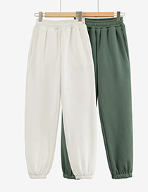 Fashion Green Thick And Velvet Elastic Waist Solid Color Trousers