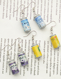 Fashion Yellow Ear Hook Juice Drink Cans Hand-made Simulated Drink Earrings
