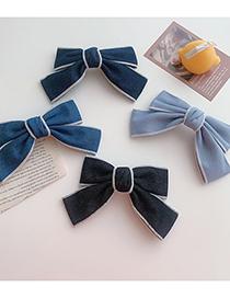 Fashion Black Denim Bow Hairpin