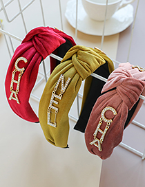 Fashion Ginger Fabric Diamond Letter Knotted Headband