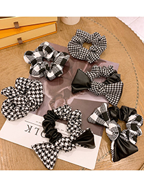 Fashion Large Intestine Circle Large Houndstooth Handmade Houndstooth Bow Bow Large Intestine Circle Hair Rope