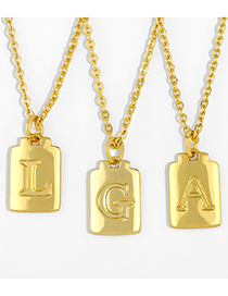 Fashion A Golden Glossy Letter Copper And Gold-plated Geometric Necklace