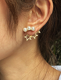 Fashion Golden Alloy Five-pointed Star Earrings