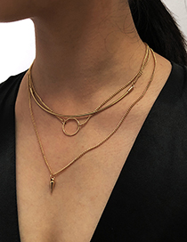Fashion Golden Alloy Multilayer Necklace