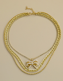 Fashion Golden Alloy Diamond Pearl Bow Multilayer Necklace