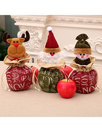 Fashion Deer Large Christmas Linen Cloth Apple Bag