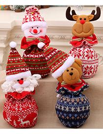 Fashion Bear Christmas Knitted Yarn Closure Apple Bag