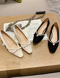 Fashion Black Thick Mid-heel Shallow Mouth Pearl Bow Single Shoes