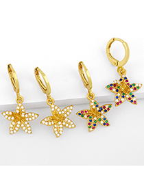 Fashion White Zirconium Gold-plated Copper Earrings With Flowers And Diamonds