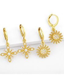 Fashion Snowflake Gold-plated Copper Earrings With Zircon Sun Flowers