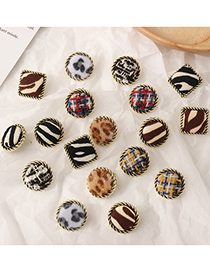 Fashion Red Plaid Square Round Lace Alloy Leopard Print Flannel Earrings
