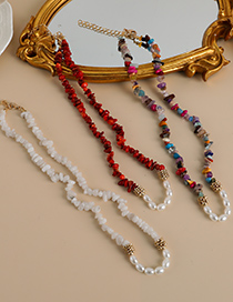 Fashion Red Natural Stone Pearl Necklace