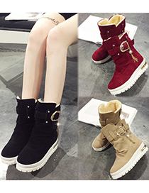 Fashion Red Fringed Snow Boots With Velvet Frosted Platform Belt Buckle