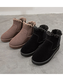 Fashion Black Flat-bottomed Chelsea One-step Plus Fleece Snow Boots