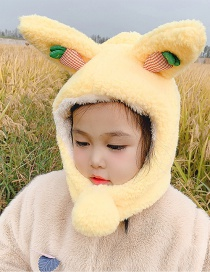 Fashion Yellow Carrot 2-6 Years Old One Size Stuffed Carrot Animal Ears Childrens Hat