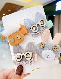 Fashion Grey Rabbit Animal Color Contrast Fabric Alloy Childrens Hairpin Hair Rope