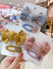 Fashion Blue Bow Hair Rope + Small Flower Hairpin Knitted Wool Bowknot Childrens Hairpin Hair Rope