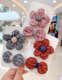 Fashion Pink Flowers [2 Piece Set] Small Flower Bow Children Hairpin