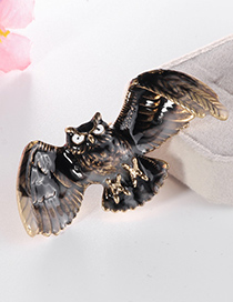Fashion Black Alloy Eagle Brooch